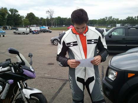 Ricky Vesel studying the racing line at Mid Ohio