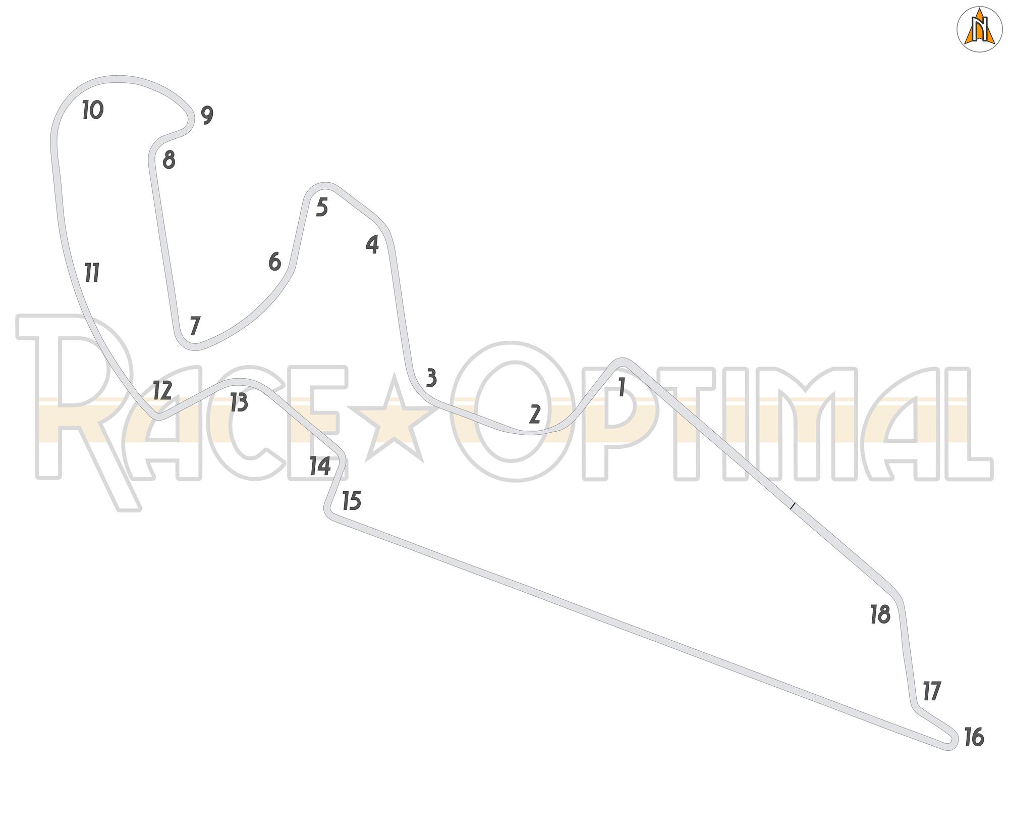 Circuito Motorland : Racing line map at motorland aragón fia