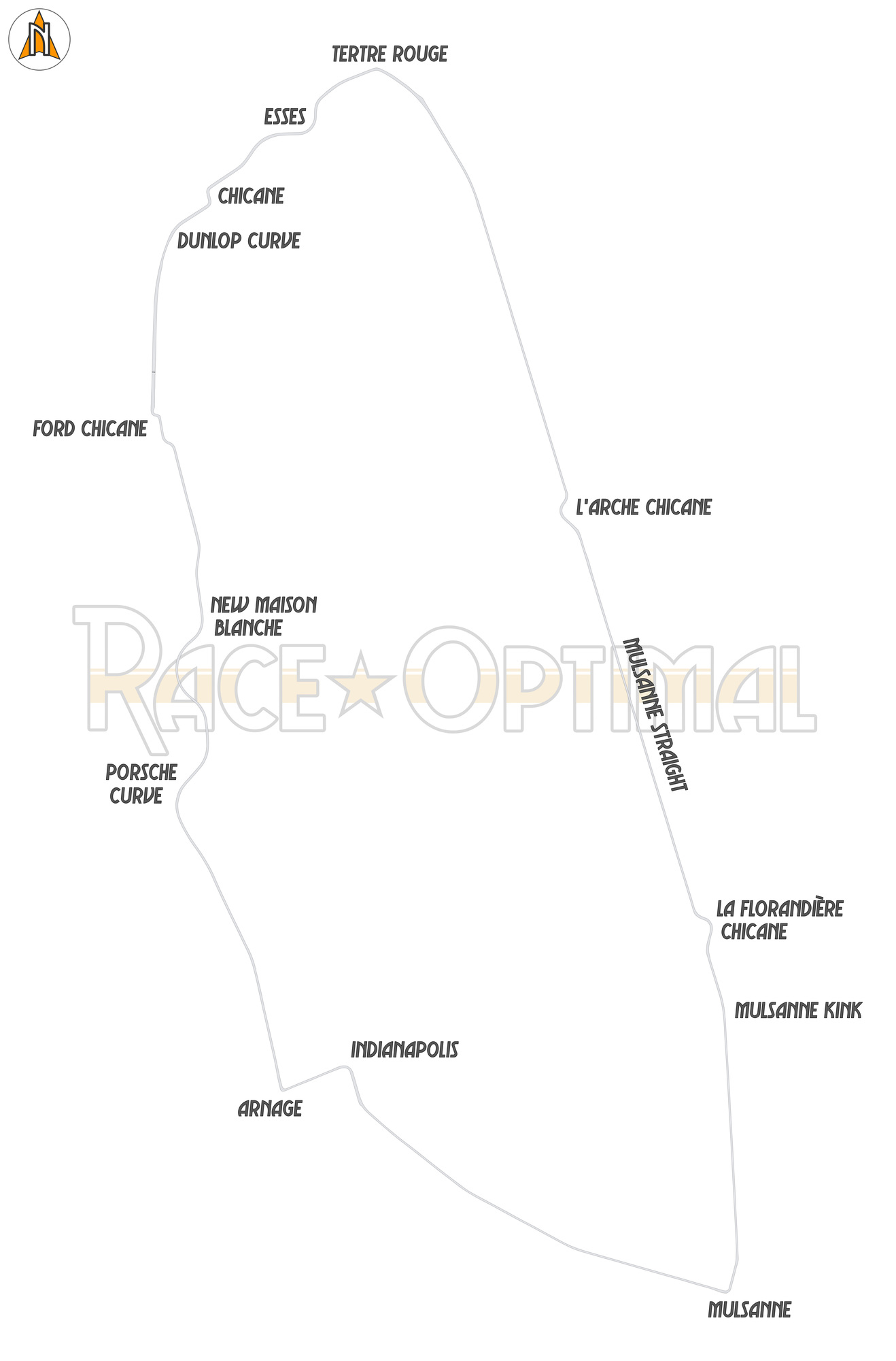 racing line map at circuit de la sarthe le mans 24 hours. Black Bedroom Furniture Sets. Home Design Ideas