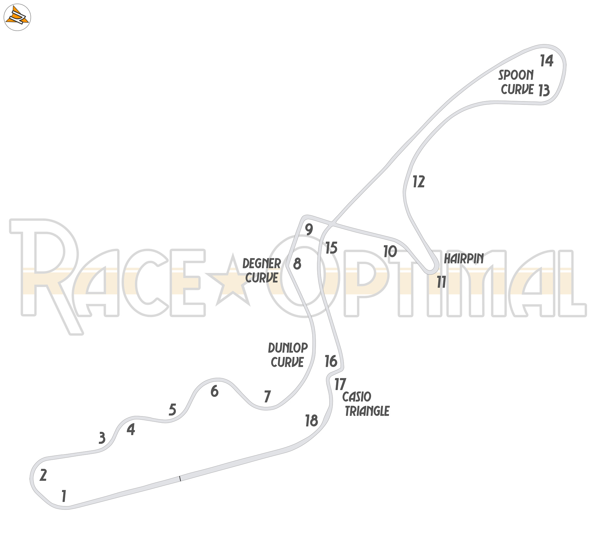 racing line map at suzuka circuit